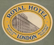 Collectible Hotel luggage label England Royal London Russell Square  #646